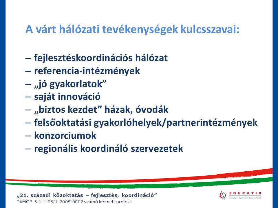 """""""21. századi közoktatás – fejlesztés, koordináció"""" TÁMOP-3.1.1-08/1-2008-0002 számú kiemelt projekt A várt hálózati tevékenységek kulcsszavai: – fejle"""
