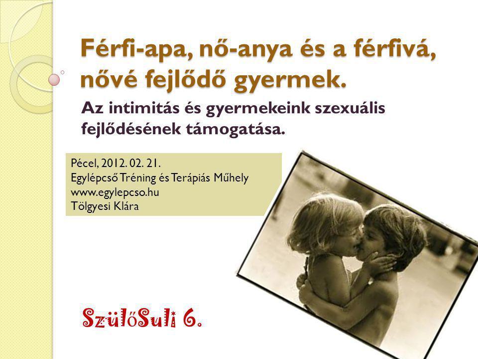 Férfi-apa, nő-anya és a férfivá, nővé fejlődő gyermek. Az intimitás és gyermekeink szexuális fejlődésének támogatása. Szül ő Suli 6. Pécel, 2012. 02.