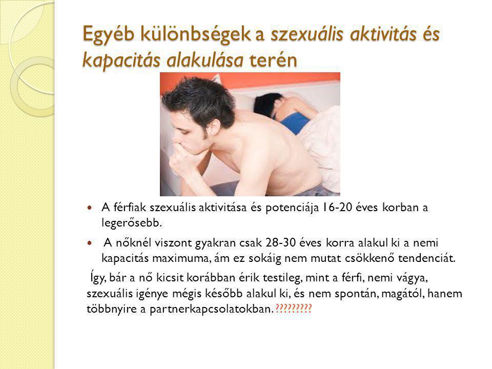 Egyéb különbségek a szexuális aktivitás és kapacitás alakulása terén A férfiak szexuális aktivitása és potenciája 16-20 éves korban a legerősebb. A nő