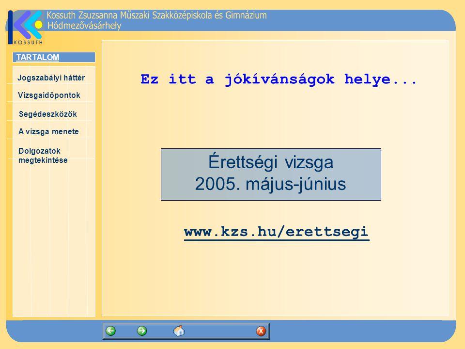 TARTALOM Jogszabályi háttér Vizsgaidőpontok A vizsga menete Segédeszközök Dolgozatok megtekintése Érettségi vizsga 2005.