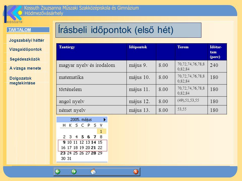 TARTALOM Jogszabályi háttér Vizsgaidőpontok A vizsga menete Segédeszközök Dolgozatok megtekintése Írásbeli időpontok (első hét) TantárgyIdőpontokTeremIdőtar- tam (perc) magyar nyelv és irodalommájus 9.8.00 70,72,74,76,78,8 0,82,84 240 matematikamájus 10.8.00 70,72,74,76,78,8 0,82,84 180 történelemmájus 11.8.00 70,72,74,76,78,8 0,82,84 180 angol nyelvmájus 12.8.00 (49),51,53,55 180 német nyelvmájus 13.8.00 53,55 180