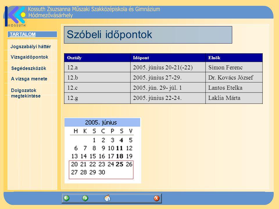 TARTALOM Jogszabályi háttér Vizsgaidőpontok A vizsga menete Segédeszközök Dolgozatok megtekintése Szóbeli időpontok OsztályIdőpontElnök 12.a2005.