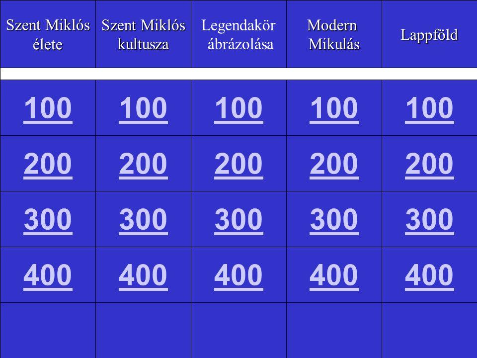 Szent Miklós élete kultusza Legendakör ábrázolásaModernMikulásLappföld 100 200 300 400