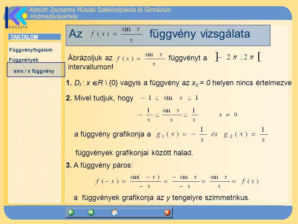 TARTALOM Függvényfogalom Függvények sinx / x függvény Az függvény vizsgálata Ábrázoljuk az függvényt a intervallumon! 1. D f : x  R \ {0} vagyis a fü