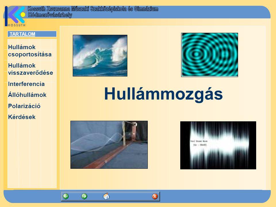 TARTALOM Hullámok csoportosítása Hullámok visszaverődése Interferencia Állóhullámok Polarizáció Kérdések Polarizáció Transzverzális hullám rezgési síkja: a rezgések irányára illeszkedő sík Polarizáció az a jelenség, amely során a sokféle rezgési síkkal rendelkező hullámból lineárisan poláros hullám jön létre.
