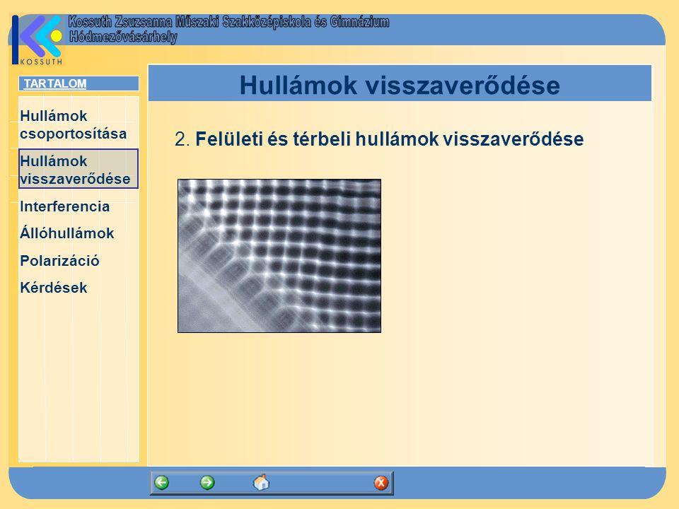 TARTALOM Hullámok csoportosítása Hullámok visszaverődése Interferencia Állóhullámok Polarizáció Kérdések Hullámok visszaverődése Visszaverődés törvényei: 1.Térbeli hullámok esetén a beeső sugár, a beesési merőleges és a visszavert sugár egy síkban van.