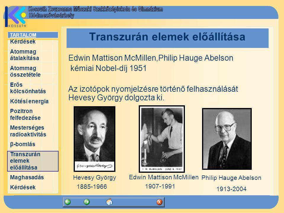 TARTALOM Kérdések Atommag átalakítása Atommag összetétele Erős kölcsönhatás Kötési energia Pozitron felfedezése Mesterséges radioaktivitás β-bomlás Transzurán elemek előállítása Maghasadás Kérdések Transzurán elemek előállítása Edwin Mattison McMillen,Philip Hauge Abelson kémiai Nobel-díj 1951 Az izotópok nyomjelzésre történő felhasználását Hevesy György dolgozta ki.