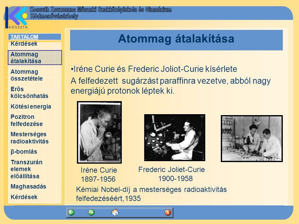 TARTALOM Kérdések Atommag átalakítása Atommag összetétele Erős kölcsönhatás Kötési energia Pozitron felfedezése Mesterséges radioaktivitás β-bomlás Transzurán elemek előállítása Maghasadás Kérdések Atommag átalakítása Iréne Curie és Frederic Joliot-Curie kísérlete A felfedezett sugárzást paraffinra vezetve, abból nagy energiájú protonok léptek ki.