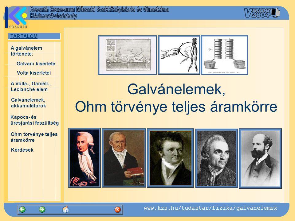 TARTALOM Galvani kísérlete A Volta-, Daniell-, Leclanché-elem Galvánelemek, akkumulátorok Kapocs- és üresjárási feszültség Ohm törvénye teljes áramkörre Kérdések A galvánelem története: www.kzs.hu/tudastar/fizika/galvanelemek Volta kísérletei A Volta-oszlop
