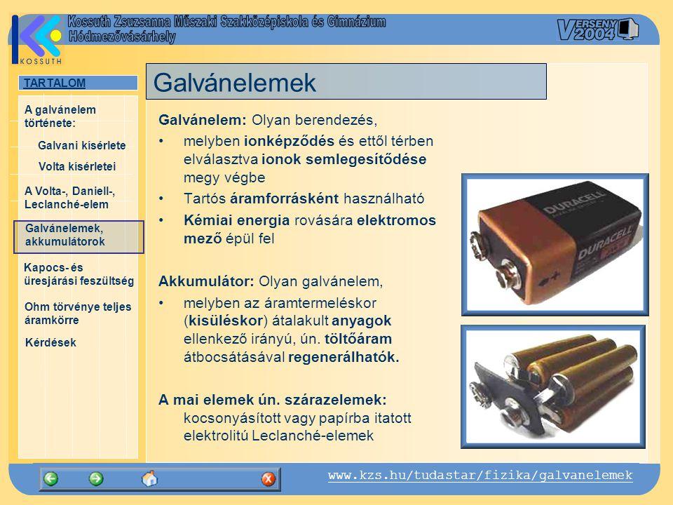 TARTALOM Galvani kísérlete A Volta-, Daniell-, Leclanché-elem Galvánelemek, akkumulátorok Kapocs- és üresjárási feszültség Ohm törvénye teljes áramkör