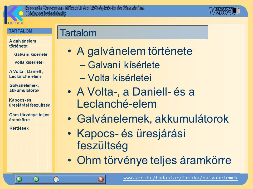 TARTALOM Galvani kísérlete A Volta-, Daniell-, Leclanché-elem Galvánelemek, akkumulátorok Kapocs- és üresjárási feszültség Ohm törvénye teljes áramkörre Kérdések A galvánelem története: www.kzs.hu/tudastar/fizika/galvanelemek Volta kísérletei A Daniell-elem John Frederic Daniell (1790-1845) Daniell-elem (1838): elektrolitok: réz-szulfát (CuSO 4 ), cink-szulfát (ZnSO 4 ) vizes oldata pozitív elektróda: rézlemez negatív elektróda: cinklemez A két oldatot porózus fallal választjuk el egymástól A két elektróda között ~ 1,1 V feszültség jön létre