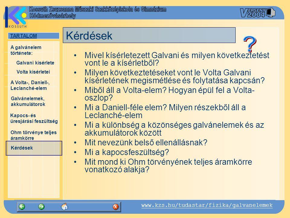 TARTALOM Galvani kísérlete A Volta-, Daniell-, Leclanché-elem Galvánelemek, akkumulátorok Kapocs- és üresjárási feszültség Ohm törvénye teljes áramkörre Kérdések A galvánelem története: www.kzs.hu/tudastar/fizika/galvanelemek Volta kísérletei A Daniell-elem John Frederic Daniell (1790-1845) +- anód (Cu) katód (Zn) réz-szulfát (CuSO4) cink-szulfát (ZnSO4) John Frederic Daniell Michael Faraday