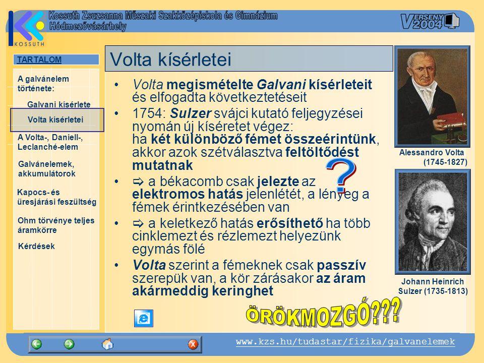 TARTALOM Galvani kísérlete A Volta-, Daniell-, Leclanché-elem Galvánelemek, akkumulátorok Kapocs- és üresjárási feszültség Ohm törvénye teljes áramkörre Kérdések A galvánelem története: www.kzs.hu/tudastar/fizika/galvanelemek Volta kísérletei Volta-elem: kénsavba merülő réz- és cinkelektród A Volta-elem +- anód (Cu) katód (Zn) - + elektrolit (hígított kénsav)
