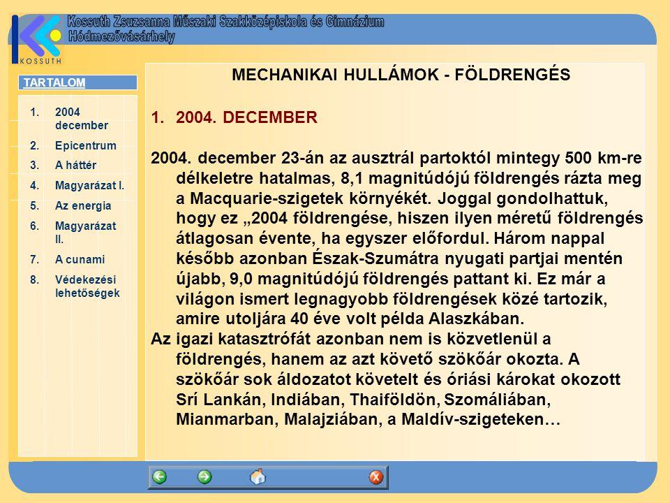 TARTALOM 1.2004 december2004 december 2.EpicentrumEpicentrum 3.A háttérA háttér 4.Magyarázat I.Magyarázat I. 5.Az energiaAz energia 6.Magyarázat II.Ma