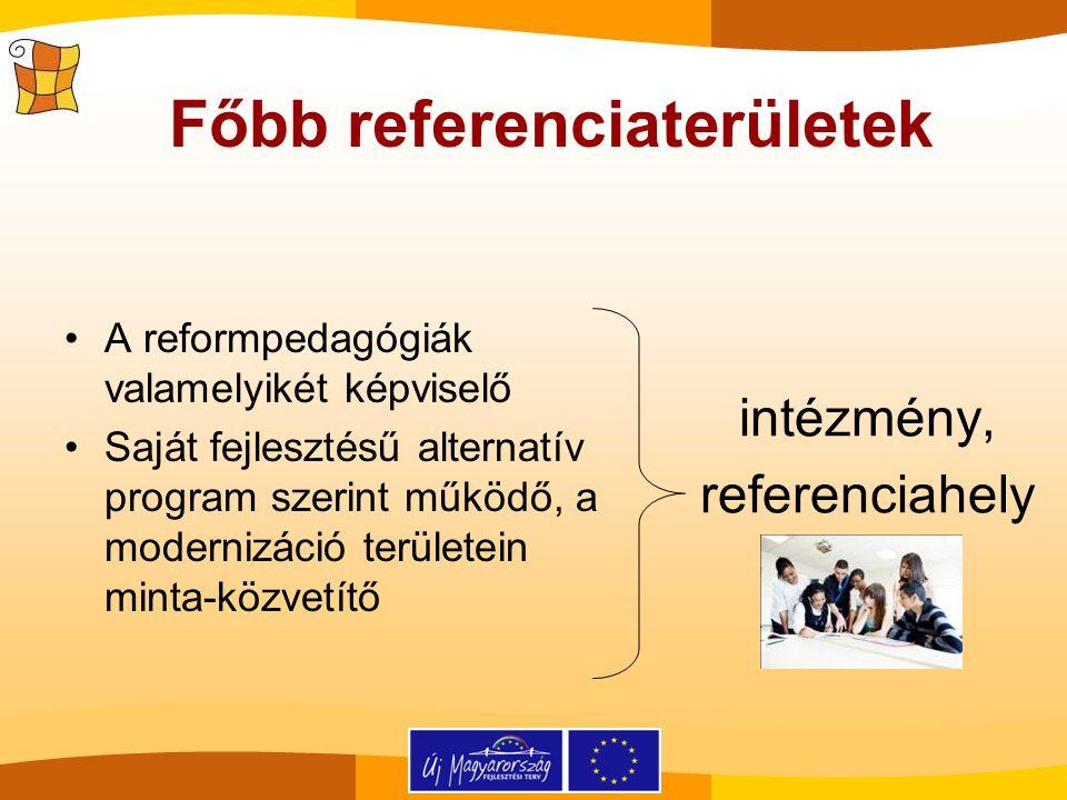 A reformpedagógiák valamelyikét képviselő Saját fejlesztésű alternatív program szerint működő, a modernizáció területein minta-közvetítő intézmény, re