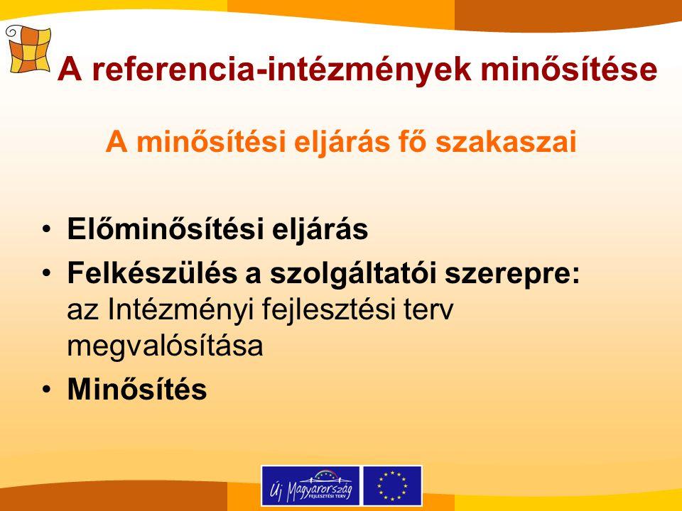A referencia-intézmények minősítése A minősítési eljárás fő szakaszai Előminősítési eljárás Felkészülés a szolgáltatói szerepre: az Intézményi fejlesz