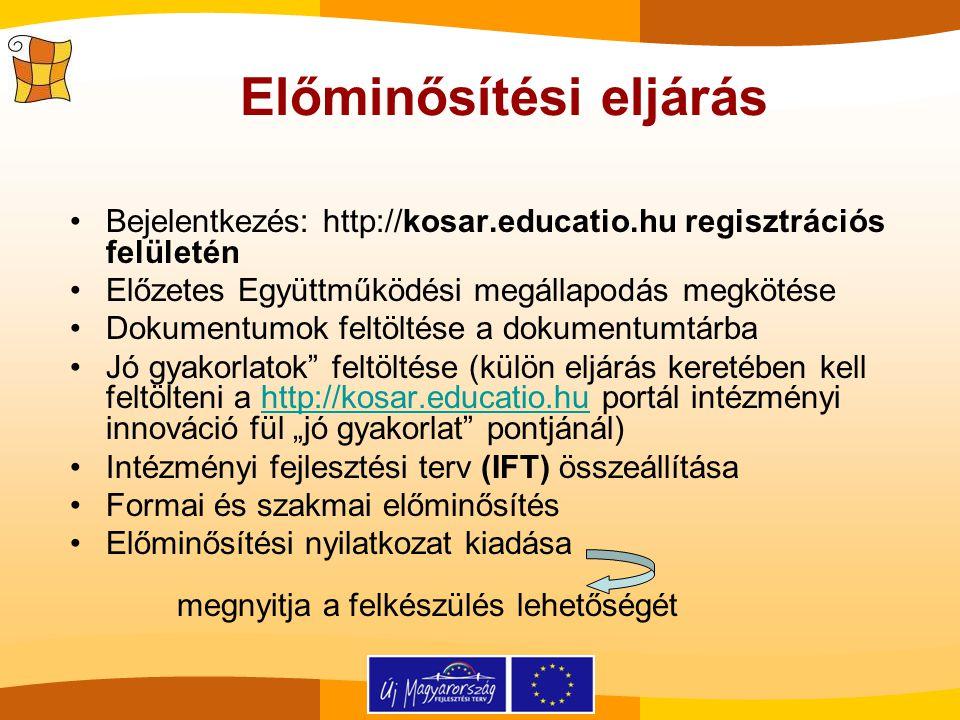 Előminősítési eljárás Bejelentkezés: http://kosar.educatio.hu regisztrációs felületén Előzetes Együttműködési megállapodás megkötése Dokumentumok felt