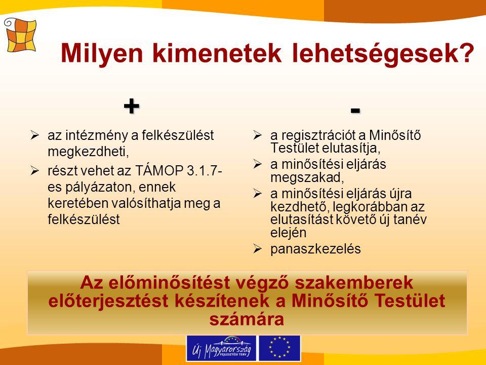 +  az intézmény a felkészülést megkezdheti,  részt vehet az TÁMOP 3.1.7- es pályázaton, ennek keretében valósíthatja meg a felkészülést-  a regiszt