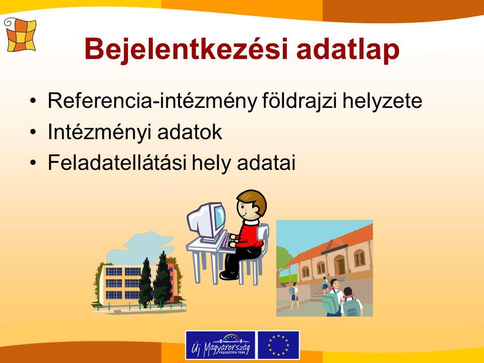 Bejelentkezési adatlap Referencia-intézmény földrajzi helyzete Intézményi adatok Feladatellátási hely adatai