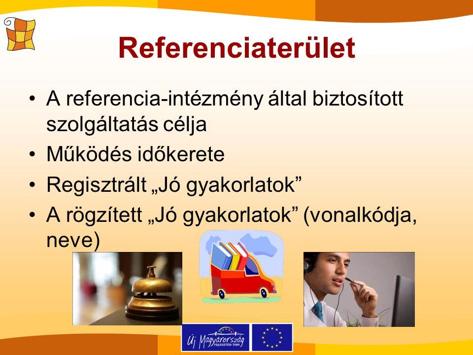 """Referenciaterület A referencia-intézmény által biztosított szolgáltatás célja Működés időkerete Regisztrált """"Jó gyakorlatok"""" A rögzített """"Jó gyakorlat"""