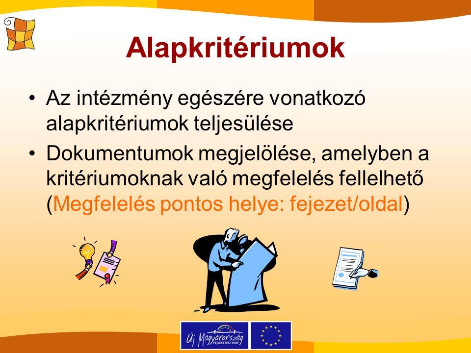 Alapkritériumok Az intézmény egészére vonatkozó alapkritériumok teljesülése Dokumentumok megjelölése, amelyben a kritériumoknak való megfelelés fellel