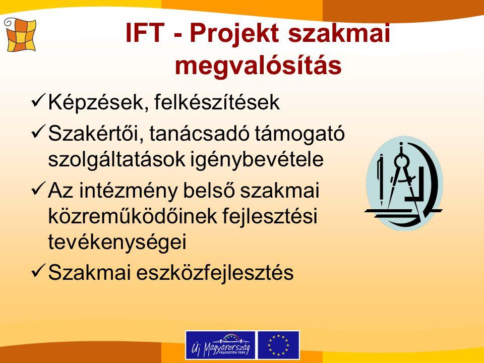 IFT - Projekt szakmai megvalósítás Képzések, felkészítések Szakértői, tanácsadó támogató szolgáltatások igénybevétele Az intézmény belső szakmai közre