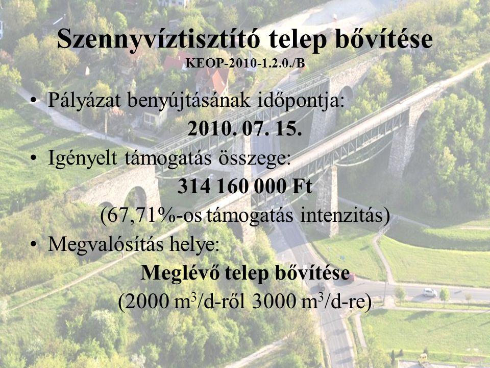 Szennyvíztisztító telep bővítése KEOP-2010-1.2.0./B Pályázat benyújtásának időpontja: 2010. 07. 15. Igényelt támogatás összege: 314 160 000 Ft (67,71%