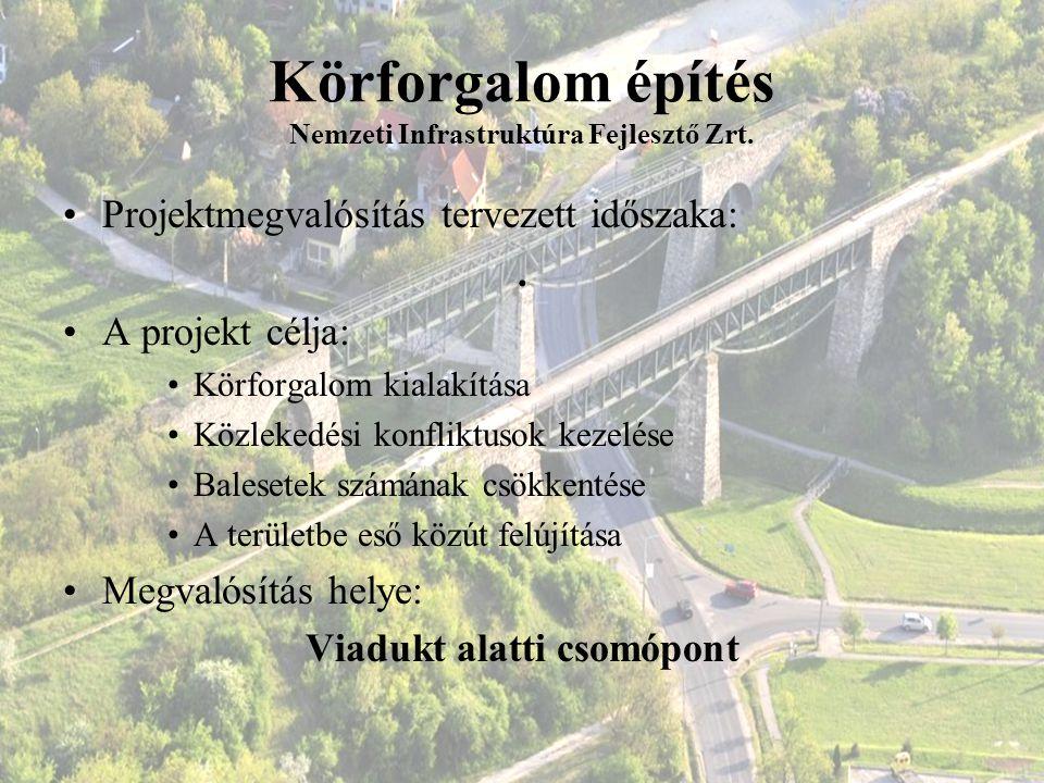Körforgalom építés Nemzeti Infrastruktúra Fejlesztő Zrt. Projektmegvalósítás tervezett időszaka:. A projekt célja: Körforgalom kialakítása Közlekedési