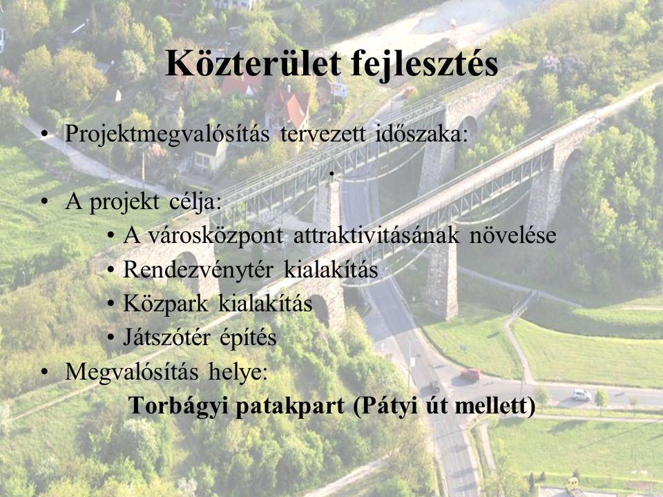 Közterület fejlesztés Projektmegvalósítás tervezett időszaka:. A projekt célja: A városközpont attraktivitásának növelése Rendezvénytér kialakítás Köz