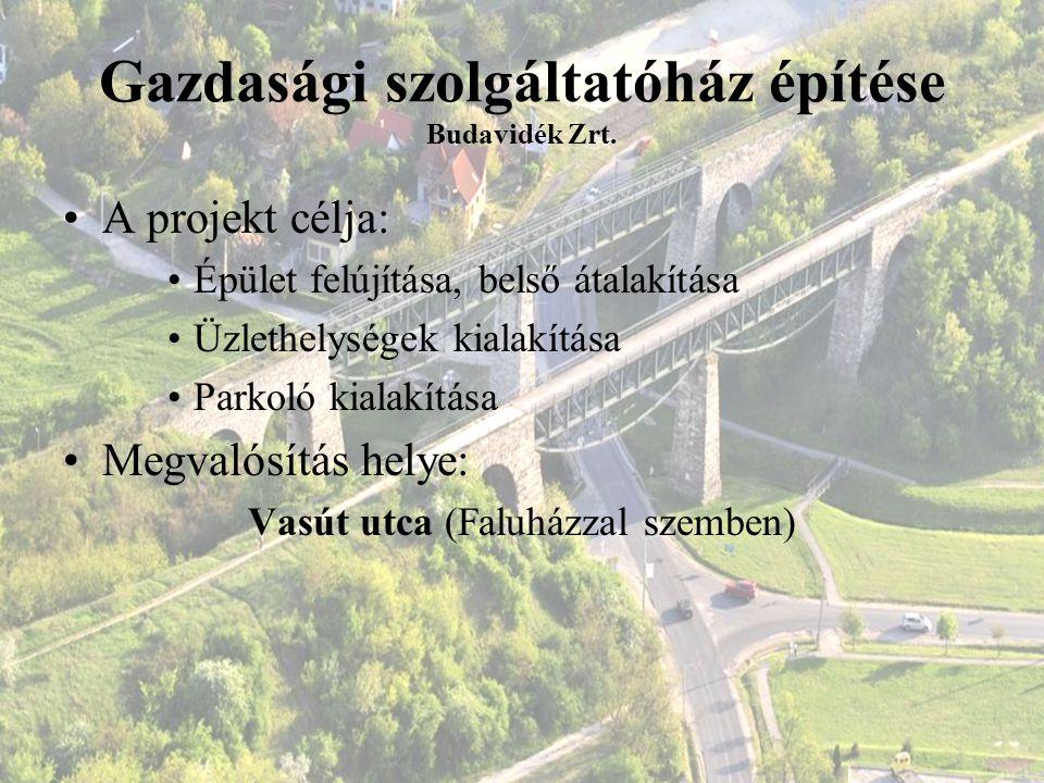 Gazdasági szolgáltatóház építése Budavidék Zrt. A projekt célja: Épület felújítása, belső átalakítása Üzlethelységek kialakítása Parkoló kialakítása M