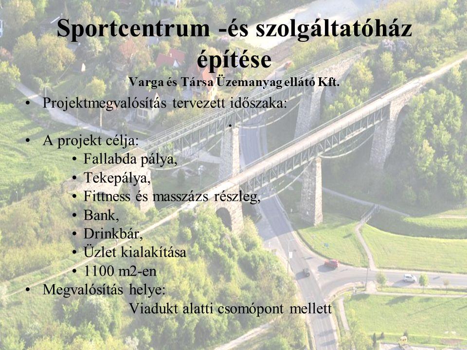 Sportcentrum -és szolgáltatóház építése Varga és Társa Üzemanyag ellátó Kft. Projektmegvalósítás tervezett időszaka:. A projekt célja: Fallabda pálya,