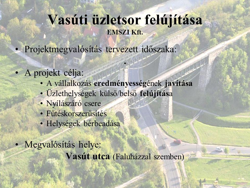 Vasúti üzletsor felújítása EMSZI Kft. Projektmegvalósítás tervezett időszaka:. A projekt célja: A vállalkozás eredményességének javítása Üzlethelysége