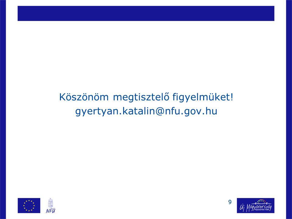 9 Köszönöm megtisztelő figyelmüket! gyertyan.katalin@nfu.gov.hu