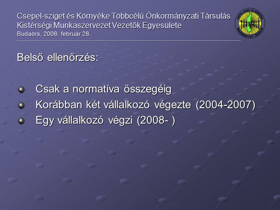 Csepel-sziget és Környéke Többcélú Önkormányzati Társulás Kistérségi Munkaszervezet Vezetők Egyesülete Budaörs, 2008.