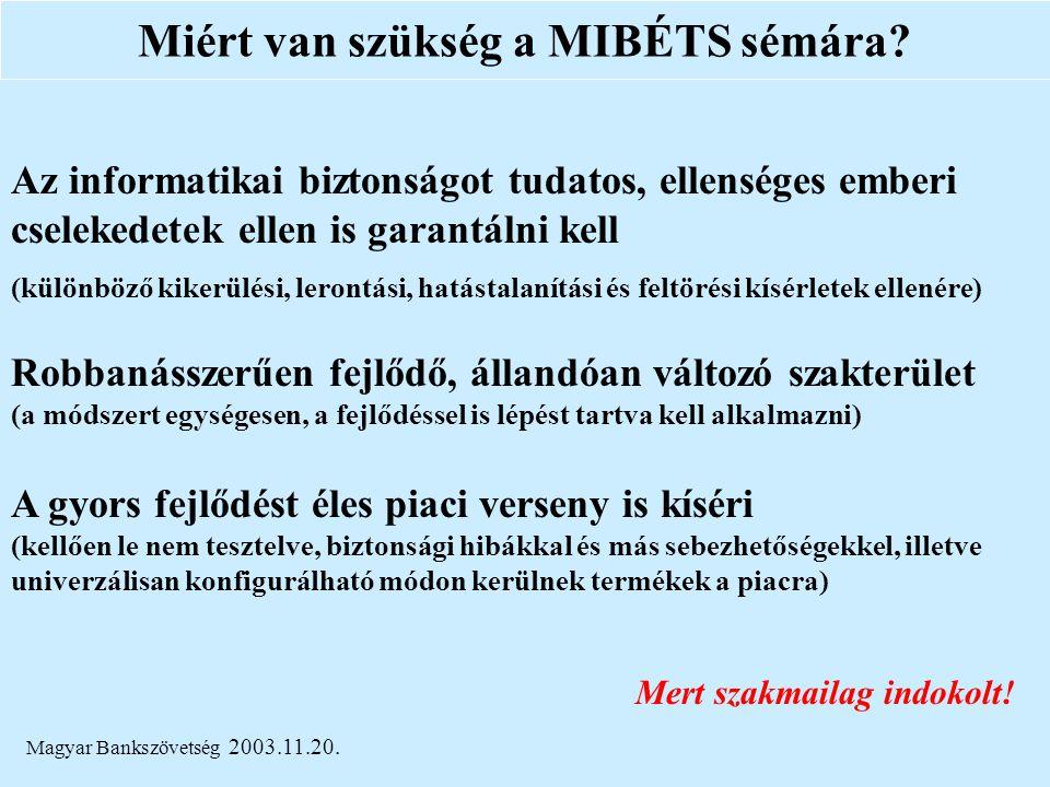Magyar Bankszövetség 2003.11.20. Miért van szükség a MIBÉTS sémára? Az informatikai biztonságot tudatos, ellenséges emberi cselekedetek ellen is garan