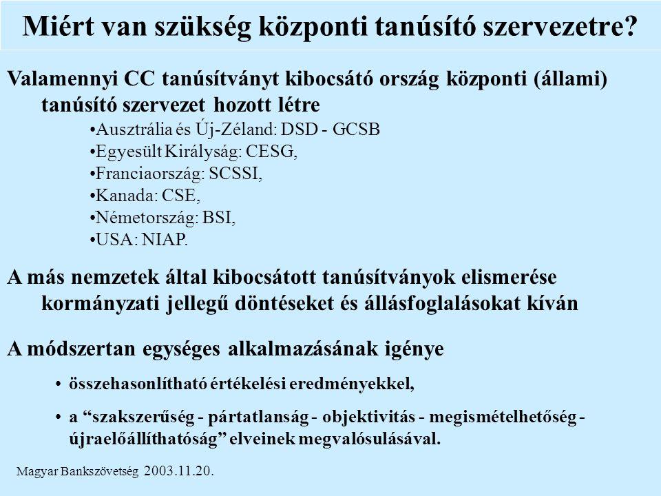 Magyar Bankszövetség 2003.11.20. Miért van szükség központi tanúsító szervezetre? Valamennyi CC tanúsítványt kibocsátó ország központi (állami) tanúsí