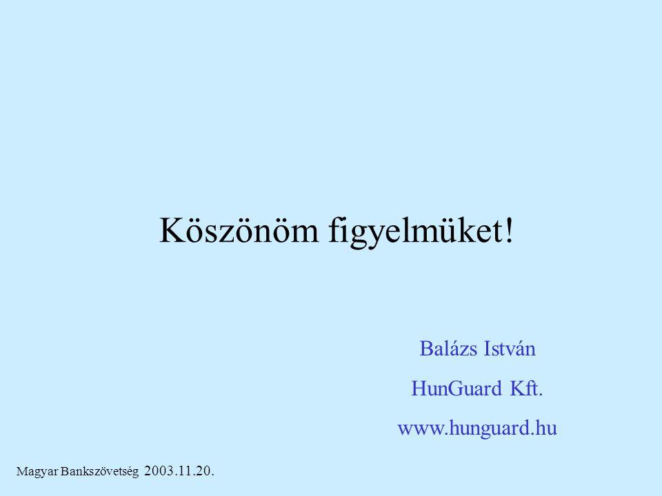 Magyar Bankszövetség 2003.11.20. Köszönöm figyelmüket! Balázs István HunGuard Kft. www.hunguard.hu