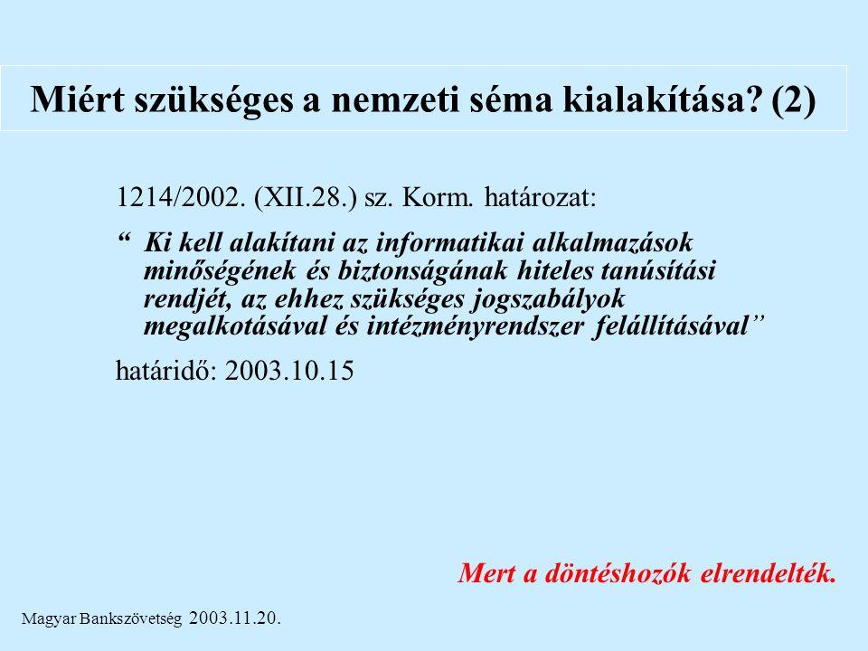 """Magyar Bankszövetség 2003.11.20. Miért szükséges a nemzeti séma kialakítása? (2) 1214/2002. (XII.28.) sz. Korm. határozat: """" Ki kell alakítani az info"""