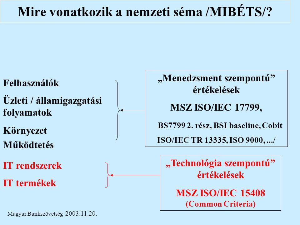 """Magyar Bankszövetség 2003.11.20. Üzleti / államigazgatási folyamatok IT rendszerek IT termékek """"Technológia szempontú"""" értékelések MSZ ISO/IEC 15408 ("""