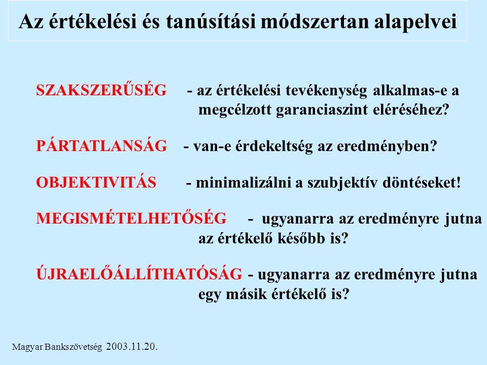 Magyar Bankszövetség 2003.11.20. Az értékelési és tanúsítási módszertan alapelvei SZAKSZERŰSÉG - az értékelési tevékenység alkalmas-e a megcélzott gar
