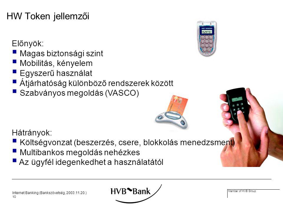 Internet Banking (Bankszövetség, 2003.11.20.) 10 Member of HVB Group HW Token jellemzői Előnyök:  Magas biztonsági szint  Mobilitás, kényelem  Egyszerű használat  Átjárhatóság különböző rendszerek között  Szabványos megoldás (VASCO) Hátrányok:  Költségvonzat (beszerzés, csere, blokkolás menedzsment)  Multibankos megoldás nehézkes  Az ügyfél idegenkedhet a használatától