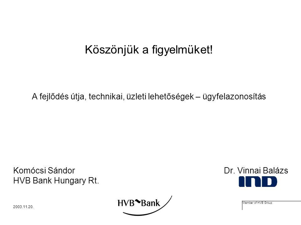 Member of HVB Group 2003.11.20. Köszönjük a figyelmüket.