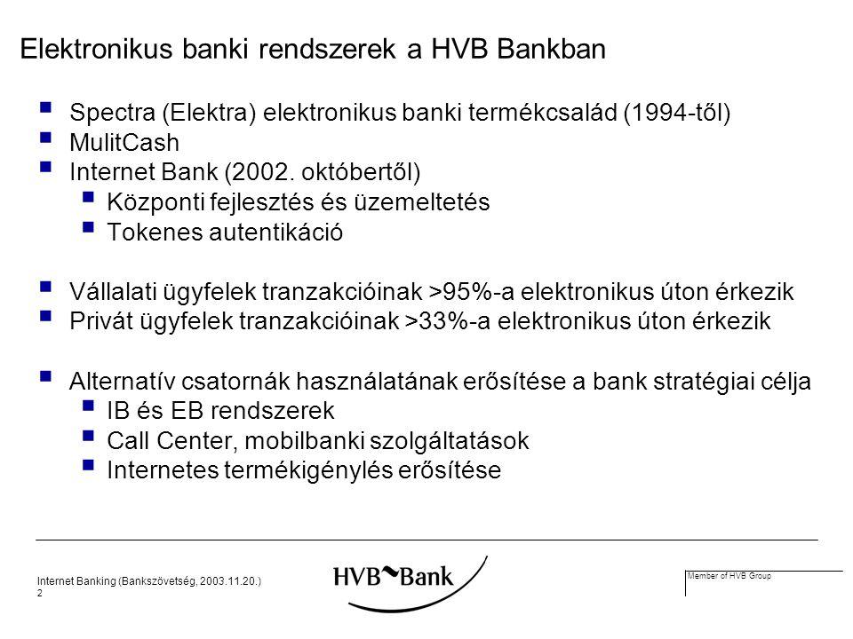 Internet Banking (Bankszövetség, 2003.11.20.) 2 Member of HVB Group Elektronikus banki rendszerek a HVB Bankban  Spectra (Elektra) elektronikus banki termékcsalád (1994-től)  MulitCash  Internet Bank (2002.