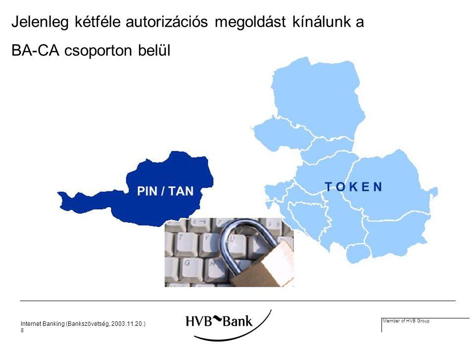 Internet Banking (Bankszövetség, 2003.11.20.) 8 Member of HVB Group Jelenleg kétféle autorizációs megoldást kínálunk a BA-CA csoporton belül
