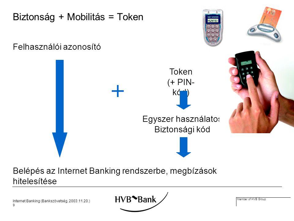 Internet Banking (Bankszövetség, 2003.11.20.) 9 Member of HVB Group Biztonság + Mobilitás = Token Felhasználói azonosító Egyszer használatos Biztonsági kód Token (+ PIN- kód) Belépés az Internet Banking rendszerbe, megbízások hitelesítése