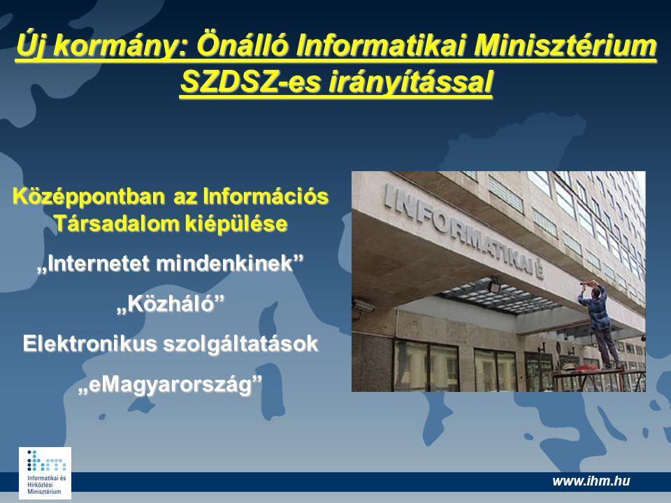 """www.ihm.hu Új kormány: Önálló Informatikai Minisztérium SZDSZ-es irányítással Középpontban az Információs Társadalom kiépülése """"Internetet mindenkinek"""