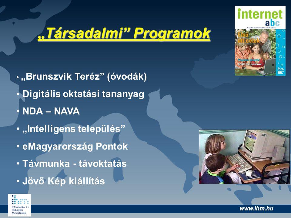 """www.ihm.hu """"Társadalmi"""" Programok """"Brunszvik Teréz"""" (óvodák) Digitális oktatási tananyag NDA – NAVA """"Intelligens település"""" eMagyarország Pontok Távmu"""