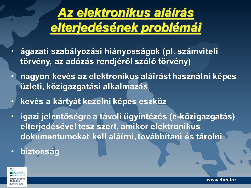 www.ihm.hu Az elektronikus aláírás elterjedésének problémái ágazati szabályozási hiányosságok (pl. számviteli törvény, az adózás rendjéről szóló törvé