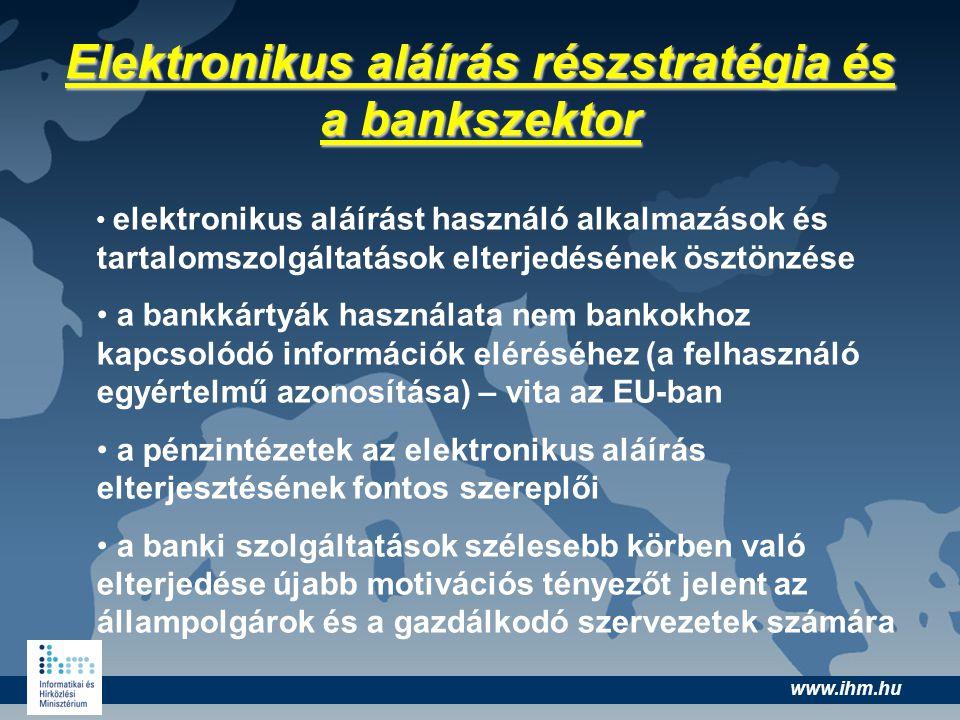 www.ihm.hu Elektronikus aláírás részstratégia és a bankszektor elektronikus aláírást használó alkalmazások és tartalomszolgáltatások elterjedésének ös