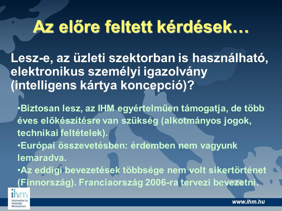 www.ihm.hu Az előre feltett kérdések… Lesz-e, az üzleti szektorban is használható, elektronikus személyi igazolvány (intelligens kártya koncepció)? Bi